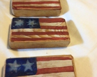 Lil primitive American flag blocks