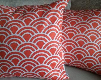 Orange pillow cover, accent pillow, pillow cover, scallop, orange and white, throw pillow, decorative pillow, fall, autumn