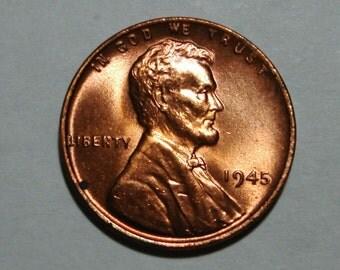 USA 1945-P Philadelphia Mint Copper Lincoln Wheat Cent BU Condition