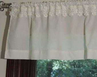 Elegant ivory window valance,  Valance with venice lace,  Window treatments