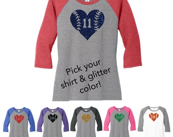 Glitter Softball Heart 3/4 Sleeve Shirt, Softball Gift, Softball gift,  Softball Heart, Softball Number