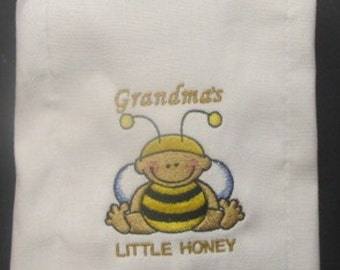 Grandma's Little Honey embroidered burp cloth Personalized