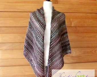 Gray and Pink Shawl / Handmade Crochet / Women's Gift Idea / Wrap / Acrylic / Wool / One Size / Romantic
