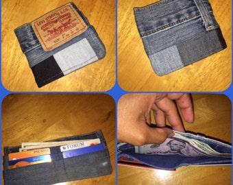Denim patchwork men's wallet