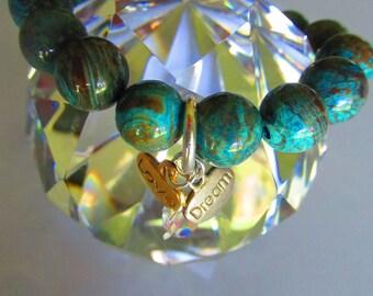 Genuine Blue Sky Jasper Sterling Silver Gold Swarovski Charms stretch Bracelet by FrenchMermaidInLA