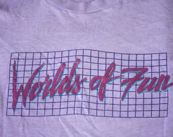 Kansas City Cedar Fair Park Worlds of Fun Vintage Souvenir Purple Sleeveless T-shirt Tank