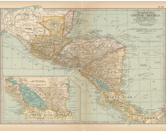 Central America 1911 Authentic Antique Map Published by the Century Atlas Co, Lake Nicaragua, Honduras, Guatemala