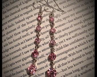 Vintage style, pink rhinestone earrings