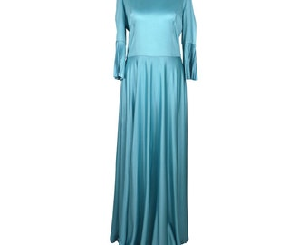 Elegant 70's Evening Gown In Turquoise UK 12