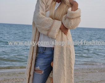 Chunky Knit Cardigan, Oversized Cardigan,Knitted Cardigan, Long Cardigan Sweater, Cable Knit Cardigan,Warm Cardigan, Oversized Knit Cardigan