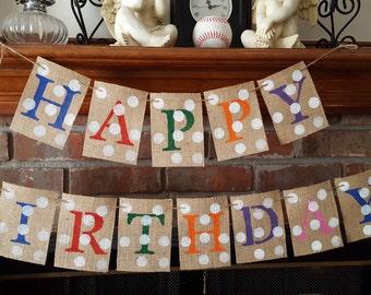 Happy Birthday Burlap Banner, Happy Birthday Bunting,Burlap Banner, Photo Prop, Rustic Birthday Decor, Gender Neutral. BSC- 057