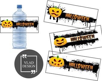 "3 Pumpkin Design Ready to print Halloween Water Bottle Labels Halloween's Party Water Bottle Labels PDF 8""x11.5"""