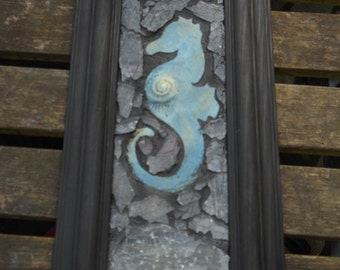 Original Seahorse Glass Mosaic with Fossil Imprint, Framed by SilverLore, Norfolk Art