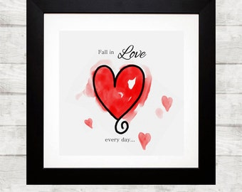 Printable art heart - fall in love - heart prints - nursery printable - instant download - printable art - wall prints