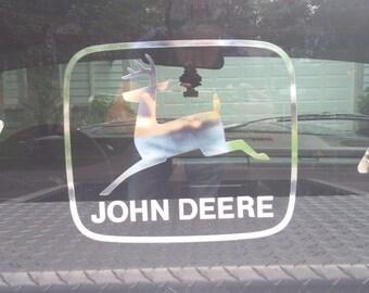 Old John Deere logo decal 10'' chrome