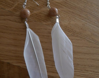 White feathers, wood - White feathers earrings pearls earrings