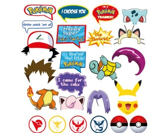 Pokemon Photo Booth set 25 pieces - Printable, Instant Download, High Resolution, signs, Pikachu Photobooth Props, Ash, Pokemon Go, Party