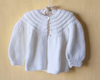 Vintage Cream Cardigan Baby Sweater- Hand Knit