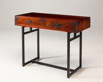 small wooden console table with storage coated with fuki urushi japanese lacquer