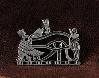 Horus eye pendant - Silver Sterling Winged Horus and Horus eye pendant - Egyptian Jewelry