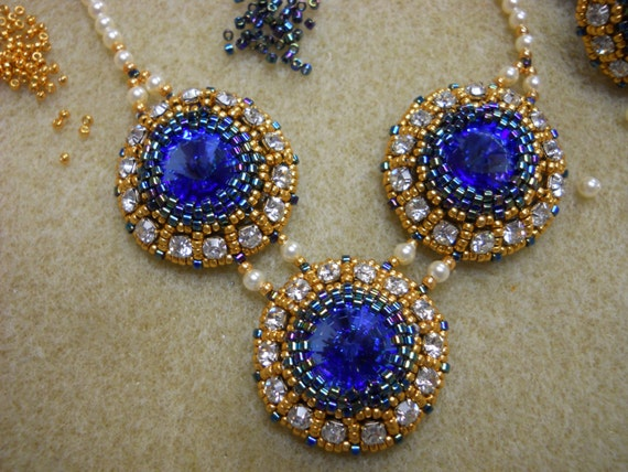 Sapphire Rivoli Crystal and Pearl Necklace Set w/ Ring