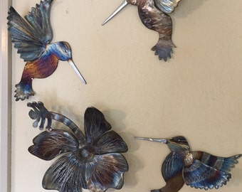 colorful metal hummingbird wall art