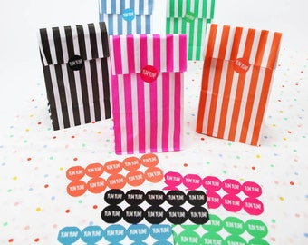 Candy Stripe Treat Bags with Yum Yum Stickers