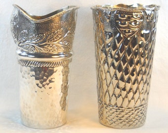 Pair of Vintage circa 1950 Silver Plated Metal Vases
