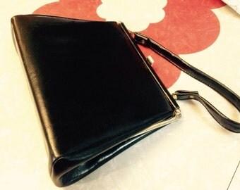 1950's Black Leather Handbag, Red Satin Lining.