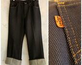 "1970s Levis pants, polyester Levis slacks, orange tab Levi's, polyester jeans . 34"" waist, 30"" inseam . volup vintage pants"