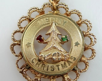 "14k Gold ""Merry Christmas"" Charm"
