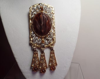 REDUCED 1970's DeLizza & Elster Large Brooch-Book Piece