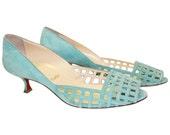 Vtg 90s CHRISTIAN LOUBOUTIN Seafoam Green Suede Kitten Heel// Lux Designer Heels// Ladies  40 sz 9