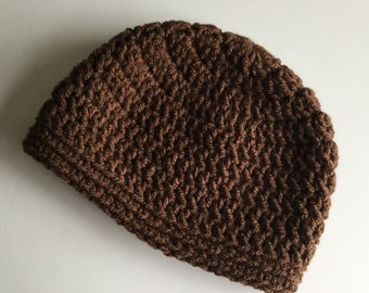 Brown baby hat, Free Shipping, Any Size Beanie, Cocoa Brown Boy or Girl Cap, 0 to 12 months,  baby hat ,   infant hat, select a size