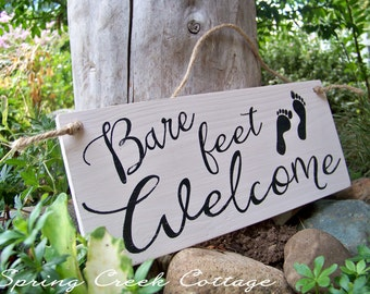 Signs, Coastal Decor, Bare Feet Welcome, Nautical, Handpainted, Seaside, Coastal Living, Home Decor, Beach, Lake, Rustic