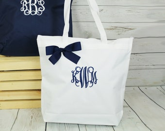 Personalized Zippered Tote Bag Bridesmaid Gift Monogrammed Tote, Bridesmaids Tote, Monogram Bag, Mother Gift, Maid of Honor Tote, Sister Bag