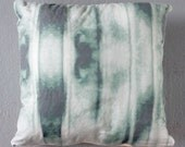 """Green Blue Dyed Throw Pillow, 18"""" with Insert"""