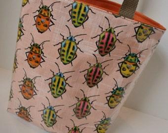 Peach Beetle Fabric Reusable Lunch Bag, Lunch Sack, Reusable Bag