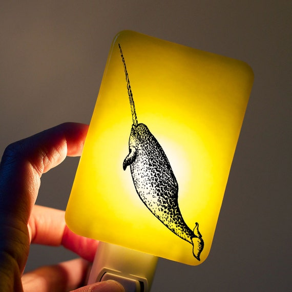 Narwhal Nightlight of Fused Glass in Lemon Yellow - Mysterious creature unicorn of the sea by Happy Owl - night light