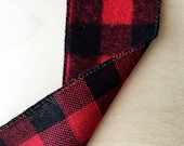 Red and Black Brushed Buffalo Check Ribbon 2.5 Inch Wide Wired Ribbon Holiday Gift Wrapping 2 Yards