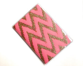 Passport Cover - coral and gold chevron - passport holder - ikat zigzags - travel gift - choice of colors