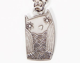 OWL NECKLACE, owl gifts, college dorm girl, pre teen gift, owl jewelry, wise owl teacher gift, book lover gifts, librarian gifts, silver owl