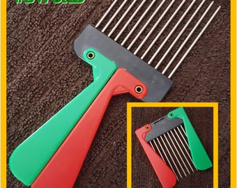 NIP New Vintage Stock Red Black & Green Afro Pick Pic New in Package Free Domestic Shipping