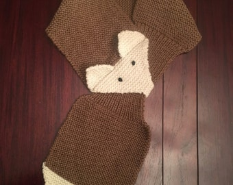 Scarf, Knitted Brown Fox