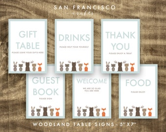 Woodland Party Signs - Set of 6 | Woodland Animals - 5x7 | Moose, Fox, Bear Party  - Printable PDF