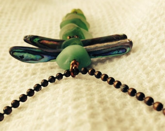 Abalone/Paua Shell and Green Sea Glass Dragonfly Necklace Suncatcher Ornament