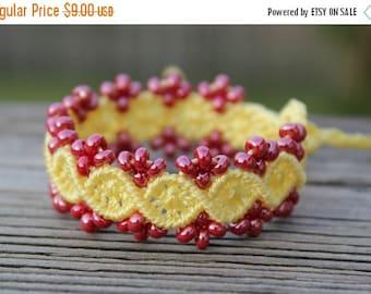 SALE Micro-Macrame Beaded Bracelet - Lemon and Red