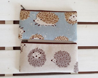 Flat  zipper pouch  - round hedgehog
