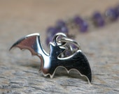 Vampire Queen necklace ... sterling silver bat / amethyst