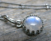 Nephelae necklace ... antiqued silver gallery bezel / sterling silver / rainbow moonstone